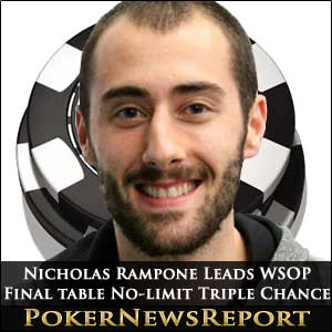 Nicholas Rampone Leads WSOP No-Limit Holdem Triple Chance final table