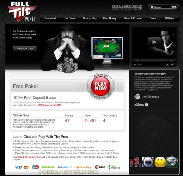 Full Tilt Poker Homepage with Players