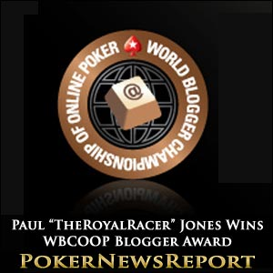 Paul Jones Snaffles PokerStars' WBCOOP Best Blogger Award