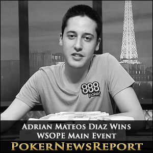Adrian Mateos Diaz Wins WSOPE Main Event