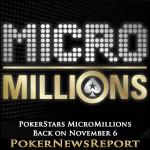 PokerStars MicroMillions is Back on November 6