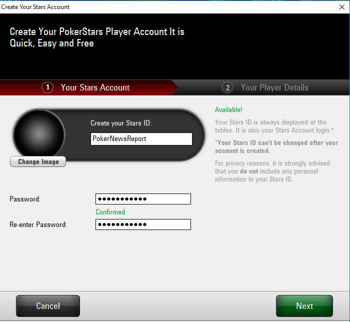 PokerStars.es Registration Page