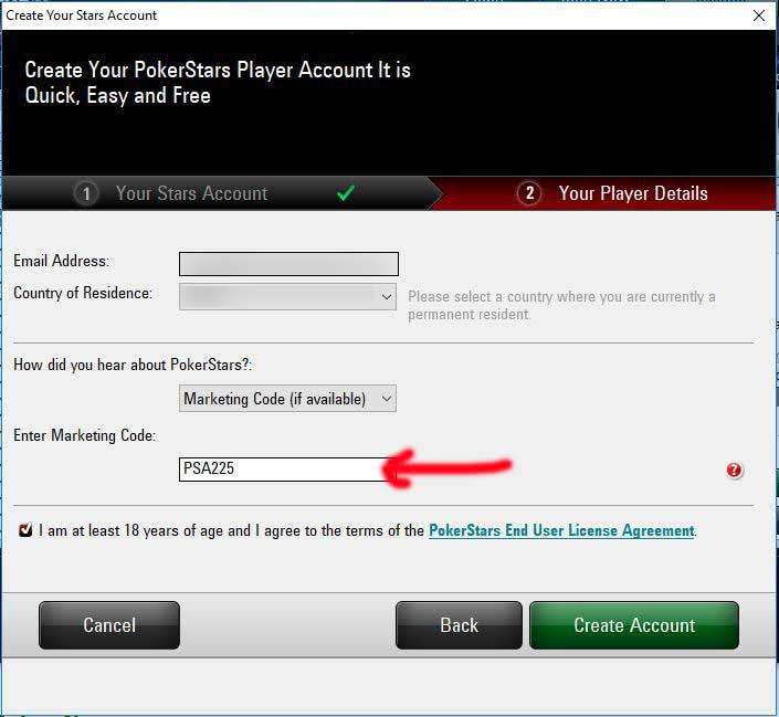 PokerStars Marketing Code