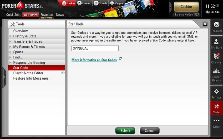 PokerStars Star Code SPINGOAL