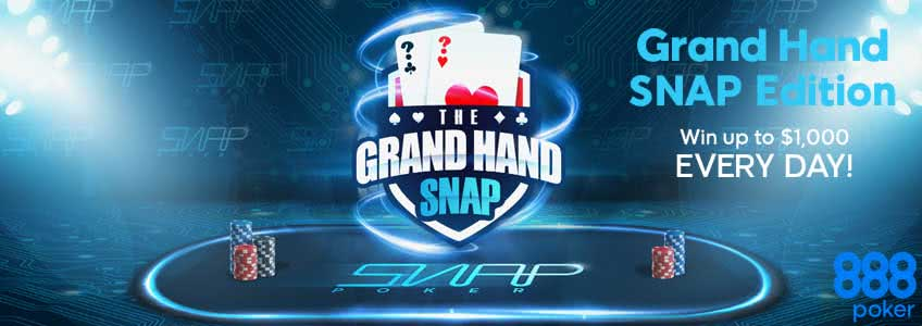 Win up to $1,000 a Day in 888Poker´s Grand Hand Promo
